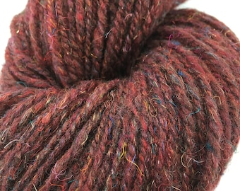 "Handspun Yarn Worsted  216 yds.""Party Red"" merino"