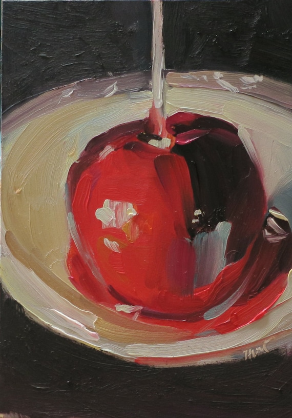 Tempting....a still life oil painting by South Carolina artist Linda Hunt....candy apple