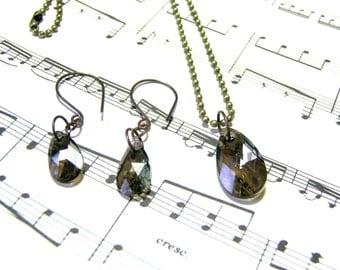 Swarovski Crystal Green Pendant Earrings Jewelry Set Crystal Jewelry Sets for Women