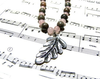 Rose Quartz Beaded Necklace Silver Leaf Jasper Necklace Pink Necklace Gift Ideas Leaf Pendant