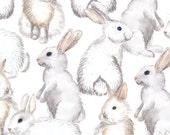 Watercolor White Rabbit Fabric - White Rabbits By Svetlana Prikhnenko - Watercolor Easter Bunny Cotton Fabric By The Yard With Spoonflower