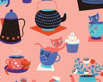 Scandinavian Mod Cat Fabric - Cat Tea Party By Zesti - Mod Cats and tea cups Pink Cotton Fabric By The Yard With Spoonflower