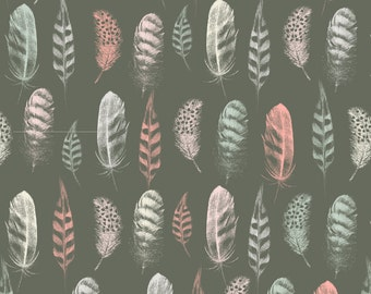 Boho Feather Fabric - Feather Lines Earth By Phirefly Print - Bohemian Feeathers on Grey Cotton Fabric By The Yard With Spoonflower