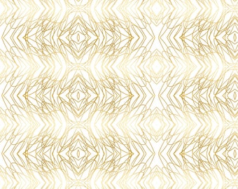 Abstract Gold and White Fabric - Gold Loops On White Gold Ogee Wallpaper By Jenlats - Gold White Cotton Fabric By The Yard With Spoonflower