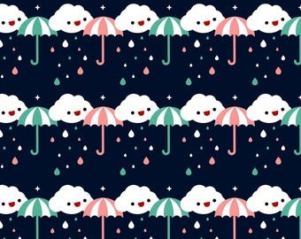 Umbrella Stripe Fabric - Rainy Day By Emandsprout - Rain Clouds and Umbrella Nursery Stripe Cotton Fabric By The Yard With Spoonflower