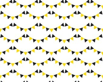 Black + Yellow Bunting Fabric - Bunting By Newmomdesigns - Black and Yellow Party Bunting Cotton Fabric By The Yard With Spoonflower