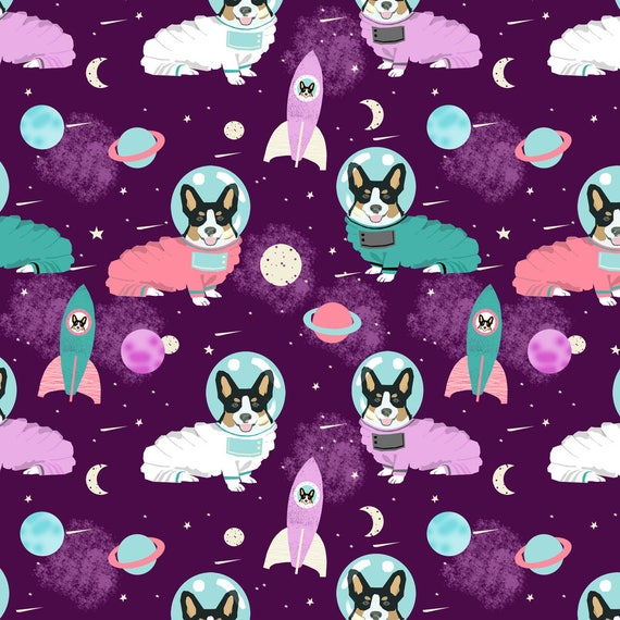 Space fabric corgis in space fabric tricolored corgi for Space minky fabric