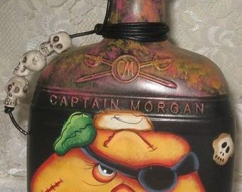 Up-Cycled Bottles,Painted Bottles,Halloween Bottles,Captain Morgan Bottles,Re-Purposed Bottles,Pirate Decor,Pumpkin Decor,Glass Bottles