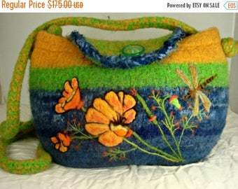 MY BIRTHDAY SALE Felted Purse, felted handbag, poppy art, dragonfly art, needle felt flower