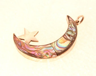 Vintage Silver Abalone Crescent Moon Star Charm Inlaid Abalone Colorful Inset Pendant Fob