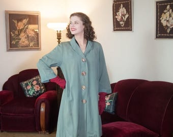 50% CLEARANCE Vintage 1940s Coat - Dreamy Seafoam Sage Green Wool Late 40s Overcoat with Beautiful Trapunto Embroidery