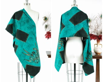 Vintage 1950s Shawl - Stunning Handpainted Mexican Scarf in Teal and Black with Golden Irises