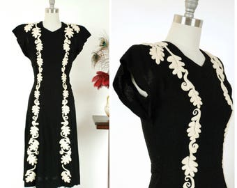 Vintage 1940s Dress  - Incredible Rare Black and White Wool Boucle 40s Dress with Strong Shoulders and Bold Embroidered Applique