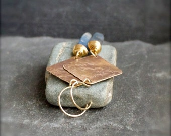 ON SALE Blue Kyanite Earrings - Gemstone Stick, Gold Brown Brass, Long Dangle Earrings, Hammered Brass, Rustic Boho Jewellery