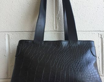 Gorgeous tote bag handmade in Montreal- black strong textured leather