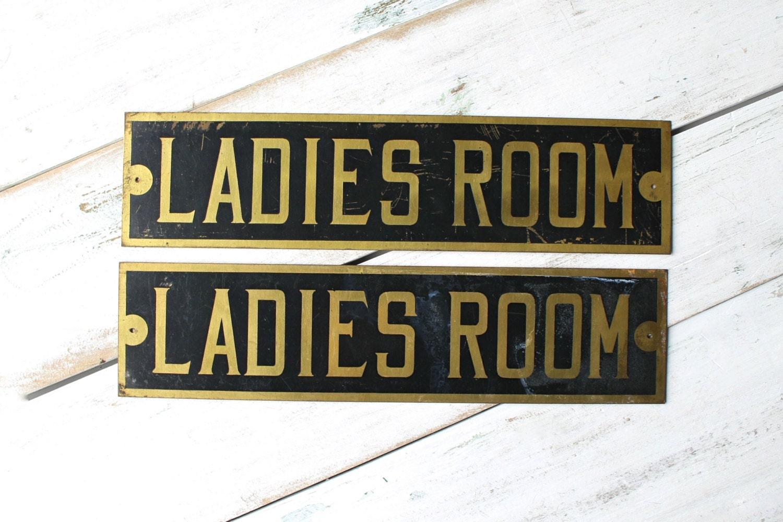 Ladies room sign vintage bathroom sign restroom by for Ladies bathroom sign