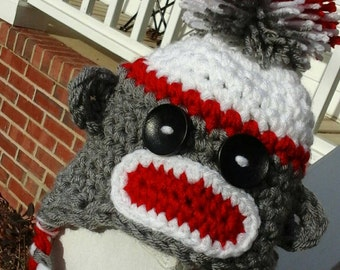 Crochet Sock Monkey Earflap Hat, NB 0-3Month size.  Ready to ship!  Custom order available Any Size And Color.