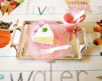 Vintage Dollhouse Miniatures Fake Food Cake Slices Teacup Plate Fork and Spoon Accessories for Barbie