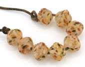 Etched Autumn Ribbed Bicone Handmade Lampwork Beads by Pink Beach Studios (2624)