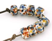 Royal Flush Drops Handmade Glass Lampwork Beads (8 Count) by Pink Beach Studios (2191)