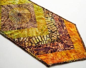 Sunburst Batik Quilted Patchwork Table Runner in Rich Earth Tones
