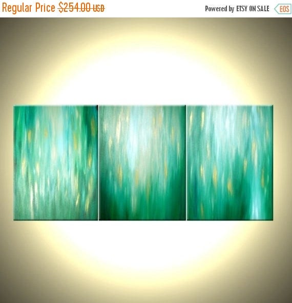 Green Abstract Art, Textured Painting, Original Gold Art, Abstract Contemporary Painting, Lafferty - 24x54, Sale 22% Off