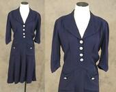 vintage 40s Dress - 1940s Navy Blue Day Dress Rayon Knit Day Dress Sz M