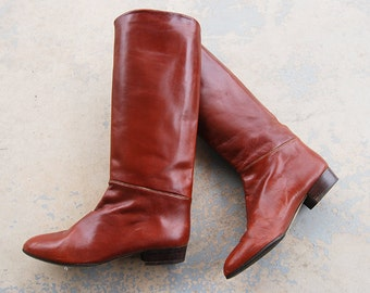 vintage 1980s Riding Boots - 80s Chestnut Brown Knee High Leather Boots Equestrian Boots Sz 8.5 39