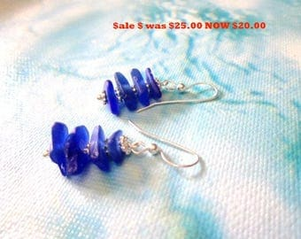 ON SALE Genuine sea glass- Blue- cobalt blue- rare sea glass earrings- Dangle earrings