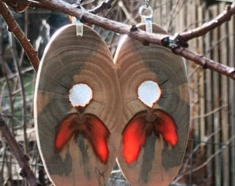 Super Wood And Resin Earrings Made Of Reclaimed Urban Monkey Puzzle Wood