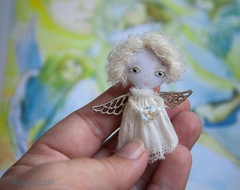 Little Christmas Angel, Art Doll Brooch, gift for her
