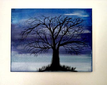 Hand Painted Dark Tree, 11 X 14  Stretch Canvas,  Acrylic Painting, Blue Background,  Reaching Tree, Original Painting, Wall Art, Canvas Art
