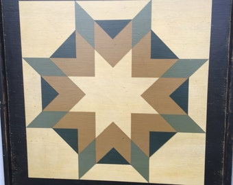 PriMiTiVe Hand-Painted Barn Quilt, Small Frame 2' x 2' - Three Patterns