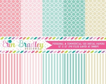50% OFF SALE Digital Scrapbook Papers Personal and Commercial Use Patterned Papers and Stripes