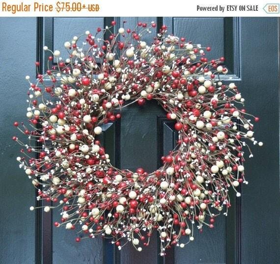 SPRING WREATH SALE Red and Cream Berry Wreath- Valentines Day Wreath- Berry Door Wreath- Year Round Wreath- Christmas Wreath- Winter Wreath-