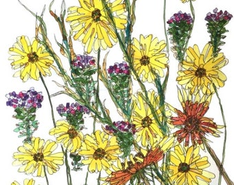 Too Many Wildflowers!, Set of 4 Blank Note Cards, 4.25x5.5 inches