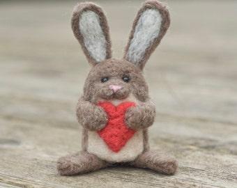 Needle Felted Bunny - Holding Heart