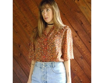 extra 30% off sale . . . Semi Sheer Floral Printed Chiffon Blouse - Vintage 70s - LARGE