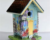 Mom's Spring Green and Yellow Birdhouse , Handmade , Hand Painted with Lots of Color and Extras , with Clean Out