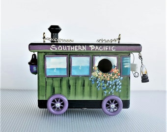 Railroad Car Gypsy Wagon Birdhouse , Unique , Original Design , Handmade , Hand Painted with Clean Out