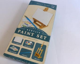 Artist's Studio Tabletop Easel Acylic Paint Set Stretched Canvas Paint Palette Paint Brushes Art Display Beginning Painting Paint Kit