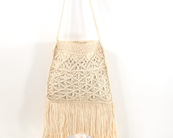Vintage Macrame Purse Woven Ivory Cotton 1970s Fringe Boho Hippie Bag