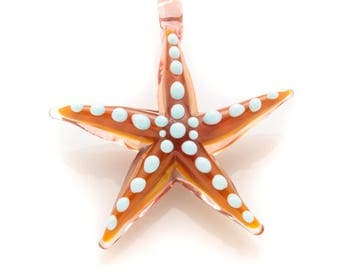 brown and sky-blue starfish pendant