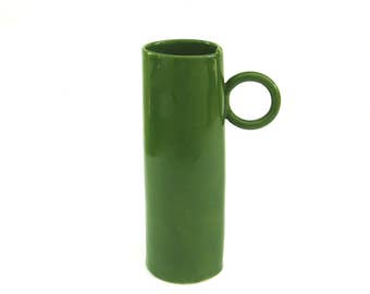 whimsical ...   tall hand built  porcelain cup   ...  green
