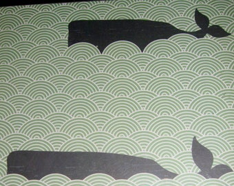 WHALES ..Magnet Dry Erase Memo Board / Housewarming Gift / Office Decor / Desk / Organization / Wall Hanging / Wall Decor / Water / Blue