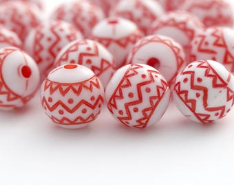 Etched Red White Zig Zag Acrylic Round Beads 10mm (20)