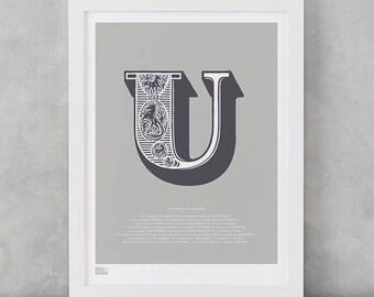 Illustrated Letter U, Illustrated Letters, Illustrated Alphabet Wall Posters, U, Letter U