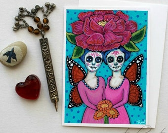 Day of the Dead Girls - 5x7 Art Card with Envelope