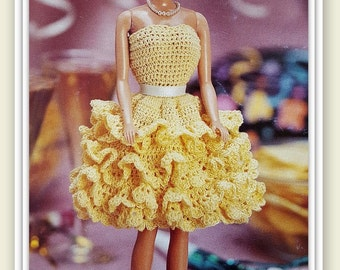 Barbie Party Dress Crochet Pattern - Fashion Doll Size - Strapless & Ruffled Skirt - PDF