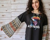 Guinness Beer Brewery Eco Friendly Off The Shoulder Bell Sleeve Sleeved Upcycled OOAK Tshirt Tee Top Shirt Womens Size XL